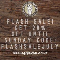 Flash Sale! Get 20% Off until Sunday Code: FLASHSALEJULY www.sweynforkbeard.co.uk #flashsale #sale #goals #beard #bearded #beardoil #beardbalm #beardshampoo #vikings #mensgrooming #claypomade #moustachewax #barba #beardie #beardlife #shavingcream #shavingoil #beardgang #malegrooming #beardlove #beardedmen #hairdresser #sweynforkbeard #beardnation #barbudo #barba