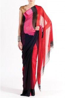 Minimal Colour-Blocked Saree