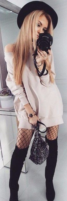 fishnet trend nude dress wearing with over the knee boots