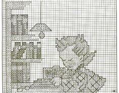 """Little Bookkeeper / Book Lore""  Hummel cross stitch, pattern 2A"