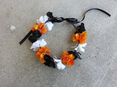 Black Orange and White Floral Headband/ Flower by DevineBlooms