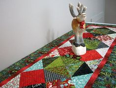 Christmas Table Runner Quilted Woodland Quilt Quiltsy Handmade