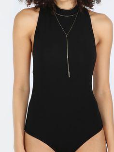 Black Sleeveless Mock Neck Bodysuit
