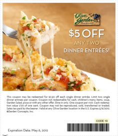 5 off any dinner entree w purchase at Olive Garden coupon