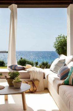interior/exterior 38 Airy Beach Home Decor Ideas – Captain Decor Coastal Homes, Coastal Living, Outdoor Spaces, Outdoor Living, Outdoor Decor, Future House, My House, Beautiful Homes, Beautiful Places