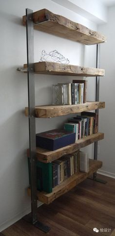 Very often old natural materials are great choice for to create something like those shelves                                                                                                                                                                                 Plus