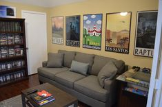 Great posters lining the wall of this gaming room!