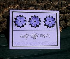 Periwinkle and Black Merci Thank You Card Handmade | LilBitOLove - Cards on ArtFire
