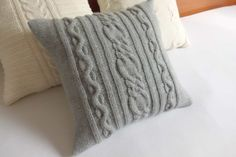 Custom hand knit pillow cover gray home decor by Adorablewares, $35.00