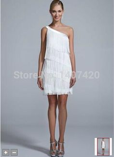 The New 2014 NEW ! One Shoulder All Over Fringe Dress Style 141702640 Wedding Dresses from Weddinggirl8,$82.02   DHgate.com