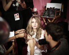 Cara Delevingne prepping for the VS Fashion Show