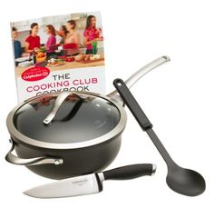 Calphalon Contemporary Nonstick Cooking Club Starter Set by Calphalon. $99.95. Stay-cool handles let you comfortably move the pan after cooking. The Cooking Club Cookbook features recipes and tips. Beginner's cooking set with 3-quart chef's pan, 6-inch chef's knife, serving spoon, and cookbook. Hard-anodized exterior on chef's pan delivers durability and performance. Chef's knife cuts vegetables and meats cleanly and efficiently. Amazon.com                Burgeoning chefs need t...