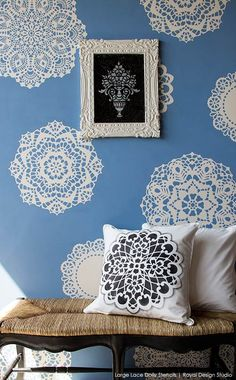 Lovely Lace Doily Stencils with Chalk Paint® decorative paint by Annie Sloan on walls | By stockist Royal Design Studio in Chula Vista, CA