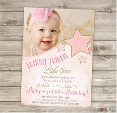 Twinkle Twinkle Little Star Photo Birthday Invitations Printable First Birthday Girl Birthday Party Printable Digital Gold Glitter pink