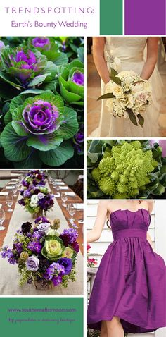 Kale and broccoli Romanesco make the base and palette for this beautiful purple and green wedding pinboard.  I love vegetables as an element in this veggie garden wedding!