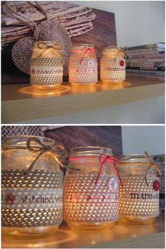 ohhh mason jar candles with a crochet sleeve.  great gift idea  Annie's Place