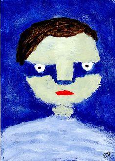 on weekends - a boy e9Art ACEO Outsider Folk Art Brut Painting Illustration