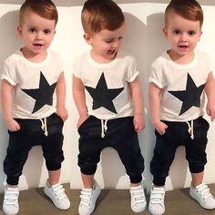8.7AUD - 2Pcs Baby Boys Pentagram Print T-Shirt Tops + Pants Set Kids Clothes Outfits Bgo #ebay #Fashion