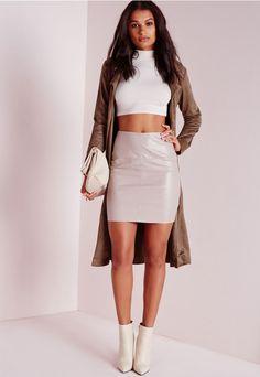 Faux Leather Mini Skirt Grey - Mini - Skirts - Missguided