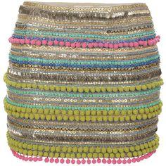 Matthew Williamson Pom Pom Embellishment Mini Skirt found on Polyvore