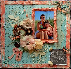 Let Us Play  *Round Robin* **SCRAPS OF DARKNESS** - Scrapbook.com - Love the rolled paper frame around the picture!