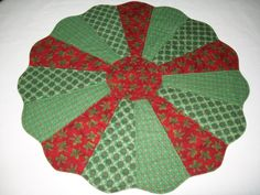 Christmas red green round table topper winter by ExpressionQuilts, $29.00