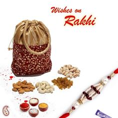 Picture of Gold print Leatherite Dry fruit pouch with Rakhi