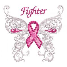 Fighter Cancer Awareness Applique Machine Embroidery Digitized Design Pattern