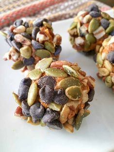 Perfect little balls of pumpkin spice covered with nuts, seeds, and chocolate chips. The perfect blend of sweet and salty. I am in full-swing pumpkin mode! Energy Snacks, Energy Bites, Low Carb Desserts, Healthy Desserts, Keto Snacks, Yummy Snacks, Canned Pumpkin, Pumpkin Spice, Pumpkin Chocolate Chip Muffins