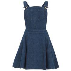 Blue Denim Dungaree Dress (12.260 CLP) ❤ liked on Polyvore featuring dresses, skirts, denim, vestidos, strappy dress, denim dungaree, denim dress, blue denim dress and blue dresses