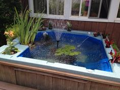 We repurposed our hot tub...too expensive to fix, too heavy to move, it's now a lovely pond! #upcycle #pond #fountain