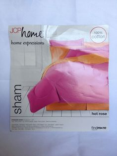 "NWT JCPENNEYS HOME EXPRESSIONS Pillow Sham Standard Size 20""x26"" Hot Pink Rose #JCPenney #JCPHome #HomeExpressions #PillowSham #Sham #HotPink #Pink #HotRose #Standard"