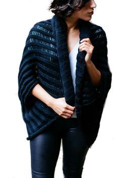 DeNada Designs Alpaca Oversized Drop Stitch Shawl in Black