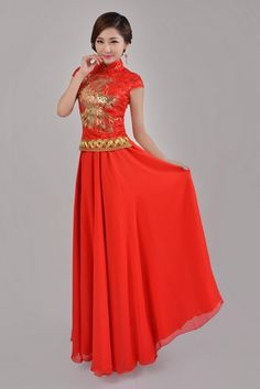 the best attitude be6cd 3ee37 Elegant Slimming Chinese Style Red Cheongsam Wedding Dress Ankle Length Two  Piece Dress Sequins Phoenix Embroidery Stand Collar Short Cheongsam Short  ...