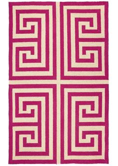"""Think I've found the rug I was looking for!"" -Kristen. Trina Turk Greek Key Pink Rug #laylagrayce #customerfavorite"