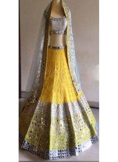 Designer Bridal Yellow & Blue Embroidery Work Lehenga Choli