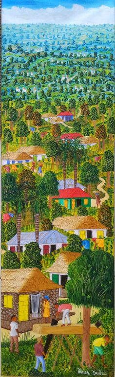 Grand Mountain Village, Haiti by Abner Dubic Haitian Art, Cuban Art, Caribbean Art, Art Africain, Mountain Village, Tropical Art, Naive Art, Outsider Art, African Art