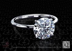 Round diamond set in a modern solitaire by Leon Mege