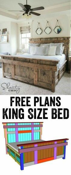 Cute idea for a wooden bed for the master bedroom
