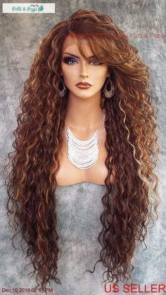 "36"" X-LONG LACE FRONT DEEP C-PART HIGH HEAT SAFE WIG COLOR FS8.27.613 SEXY 233 #sepia"