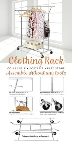 LANGRIA Chrome Finish Double Rod Garment Rack That Has Adjustable Extendable Rail There Is
