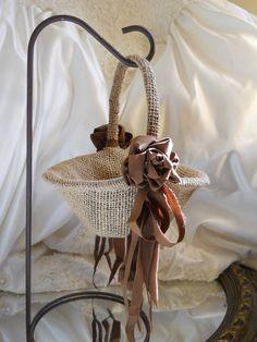 Burlap Flower Girl Basket handmade of natural burlap by PapernLace, $19.95