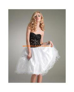 Robe mini sexy sans bretelle blanche et noire tulle robe de soirée 2013
