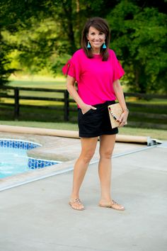 Hot Pink Top with Black Shorts