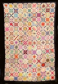 """Week by Week Sampler 1920-30s This antique quilt is a fantastic collection of 187 – 4"""" quilt blocks. The blocks are all designs that were offered by mail in newspapers around the country during the 1920s and 1930s."""