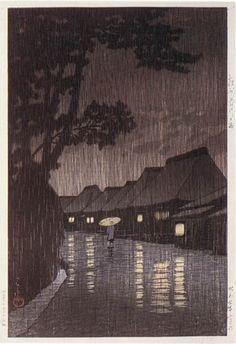 hanga gallery . . . torii gallery: Rain at Maekawa, Kanagawa by Kawase Hasui