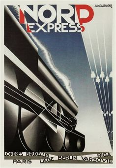 Nord Express railway 1927 Adolphe Jean-Marie Mouron (Cassandre)(1901-68)