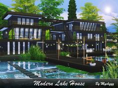 Stunning huge modern lake house built on 50x50 lot in Willow Creek.  Found in TSR Category 'Sims 4 Residential Lots'