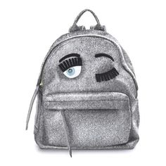 CHIARA FERRAGNI  Flirting glitter backpack (€375) ❤ liked on Polyvore featuring bags, backpacks, silver, backpacks bags, glitter backpack, patent bag, chiara ferragni and knapsack bags