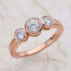 14K Rose Gold 3 Stone Bezel Set Engagement Ring by EJCOLLECTIONS